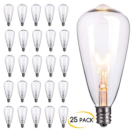 Brightown 25-Pack Edison Replacement Light Bulbs,7-watt E12 Candelabra Base ST40 Replacement Clear Glass Light Bulbs for Outdoor Patio ST40 String Lights, Warm White