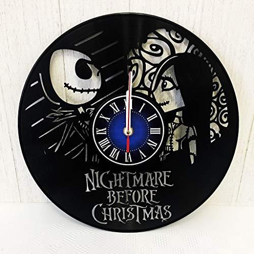 NIGHTMARE BEFORE CHRISTMAS LOVE JACK SALLY GIFT Wall Clock made from 12 inches / 30 cm Vintage VINYL RECORD | Halloween Town NIGHTMARE BEFORE CHRISTMAS GIFT WOMEN GIRLS | Jack Skellington MERCHANDISE]()