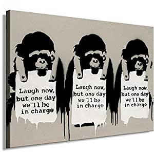 Banksy Graffiti Street Art 1331. Size 100x70x2cm(l/h/w). Canvas On Wooden Frame. Made In Germany.