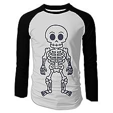 Men's Skull Funny Cartoon Man Skeleton Vector Cotton Long Sleeve Raglan T-Shirts