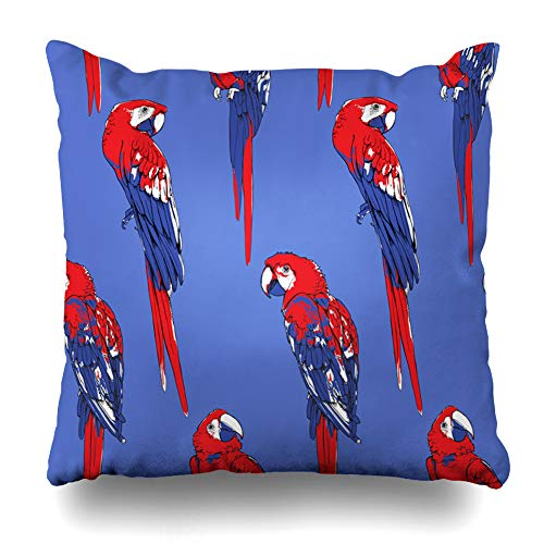 Ahawoso Throw Pillow Cover Decorative Square 18x18 Ara Exotic Pattern Colored Tropical Animals Wildlife Adorable Feather Beak Bird Character Collage Pop Zippered Pillowcase Home Decor Cushion Case (Coloured Tropical Bird With A Large Beak)