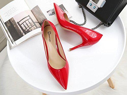 Xue Qiqi Zapatos de Corte para Mujer (Tacón Alto, Puntas Finas, con Zapatos de Novia, Zapatos de Boda), Big Red 8CM, 40 40|Big red 8CM