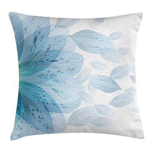 Ambesonne Floral Throw Pillow Cushion Cover by, Round Pattern of Blue Flower Petals Spring Season Nature Theme Artwork, Decorative Square Accent Pillow Case, 16 X 16 Inches, Light Blue and White - Blue Floral Pattern