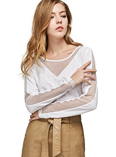 - ANNA&CHRIS Women's Long Sleeve T-Shirt Round Neck Hollow Out Blouse Tops White L