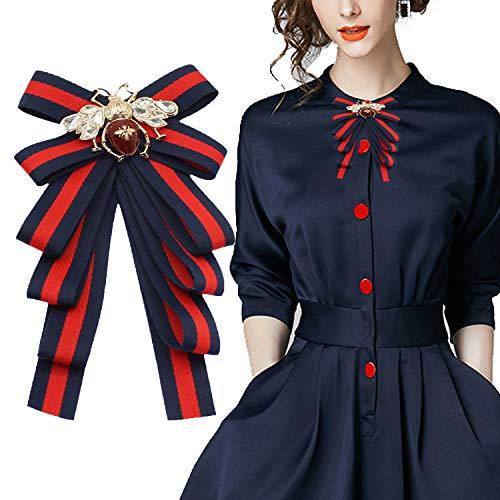 Halloween Navy Blue Satin lace Ribbon Bow Tie Brooch Pin Shirt Tie Jabot Collar Neck Tie Cravat (Bee/V09)