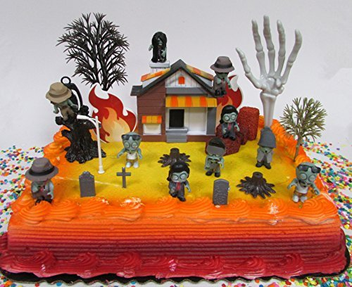 [Walking Dead Inspired End of the World ZOMBIES are Coming Birthday Cake Topper Set Featuring Zombie Figures and Decorative Themed] (Walking Zombie)