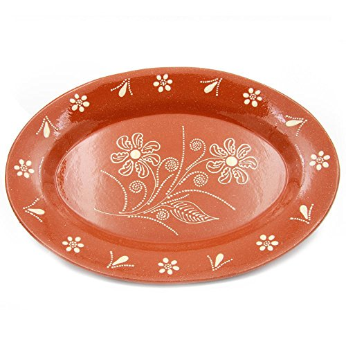 Traditional Portuguese Hand-painted Vintage Clay Terracotta Serving Platter