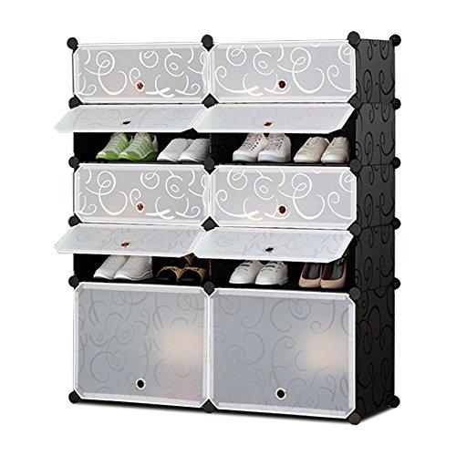 (Nex Shoe Rack Halloween Plastic Toys Organizer DIY Cube Organizer Portable Shoes Cabinet Bookcase Plastic Storage Rack(Black and)