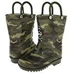 Capelli New York Toddler Boys Shiny Camo Printed with Handles Jelly Rain Boot