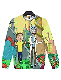 Unisex 3D Digital Sweatshirts Printed Rick and Anime Morty Graphic Crew Neck Pullover Sweater Sweatshirts