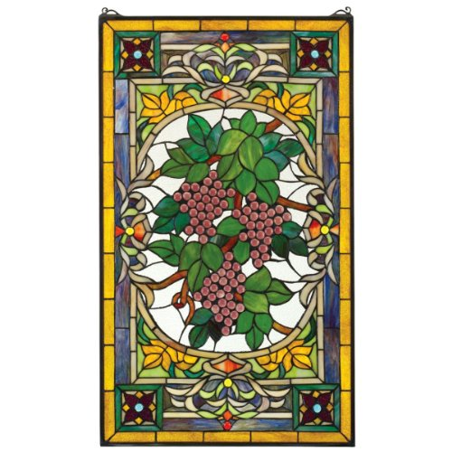Stained Glass Panel - Fruit of the Vine Grape Stained Glass Window Hangings - Window Treatments