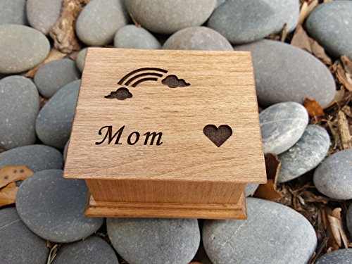 Custom made wooden music box with a rainbow, a heart and Mom engraved on top, with your choice of color and song, Great gift for mom, for Mother's day