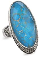 "Judith Jack ""It's Time"" Sterling Silver, Marcasite and Turquoise Oval Ring from Judith Jack"