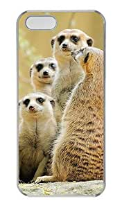 Hipster waterproof For Iphone 5/5S Phone Case Cover Meerkat Family PC Transparent for For Iphone 5/5S Phone Case Cover