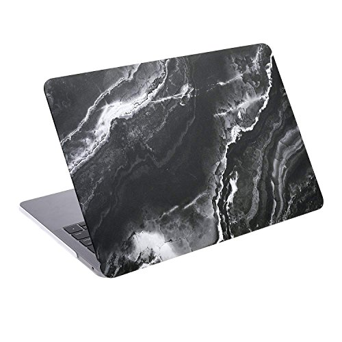 COSMOS Rubberized Plastic Hard Shell Cover Case for New MacBook Pro 13 inches (Model: A1706 & A1708, Released in 2016), Black Marble Pattern (Black Marble Pattern)