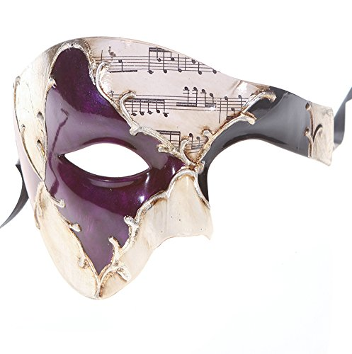 Luxury Mask Men's Phantom Of The Opera Half Face Masquerade Mask Vintage Design, Purple/Silver Musical, One Size (Mardi Gras Mens Mask)