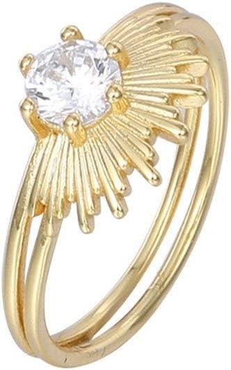 NOBRAND Joyería de Plata esterlina, joyería de señoras, de Doble Anillo, Anillo de circón luz Partido Jewelr (Color : K Gold, Size : Number 5)