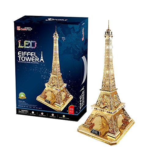 Eiffel Tower LED Light Collectible Fun Educational 3D Assembly Puzzle Model Toy 89 (Toy Lattice)