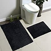 2pc Fancy Collection Bath Set Solid Black Super Soft New
