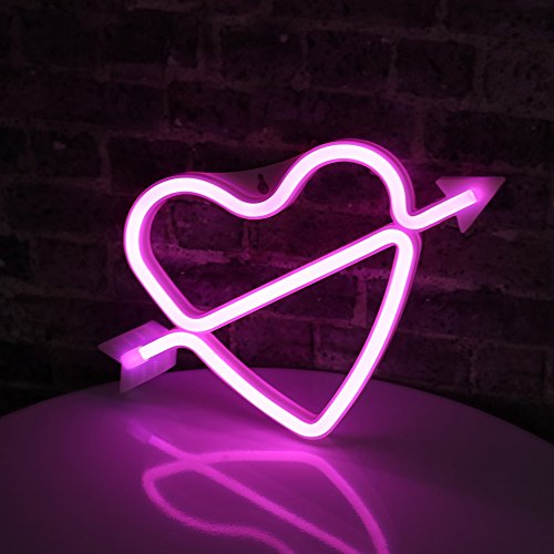 Neon Art Decorative Lights The Arrow of Love LED Neon Cupid Love Heart Signs Light Wall Decor for Girls Bedroom House Bar Pub Party Wedding Valentine's Day (Pink Neon Heart) by Obrecis