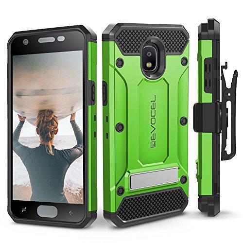 Galaxy J7 2018 / J7 Refine / J7 V 2nd Gen / J7 Star Case, Evocel [Explorer Series Pro] Premium Full Body Case w/Glass Screen Protector, Belt Clip, Metal Kickstand for J7 Top/SM-J737P, Green by Evocel