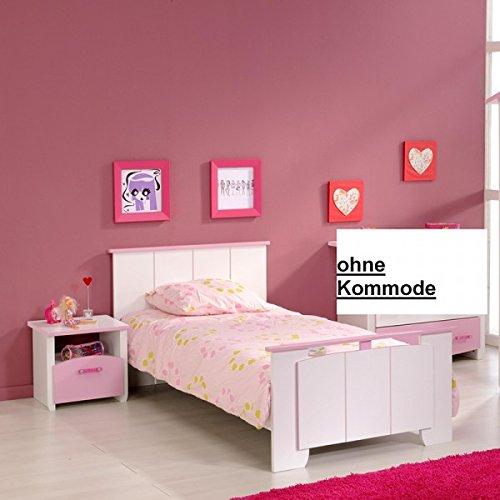 Jugendbett 90200 cm rosa weiß Mädchen Kinderbett Jugendliege Bettliege Bett Bettgestell Holz Jugendzimmer Kinderzimmer