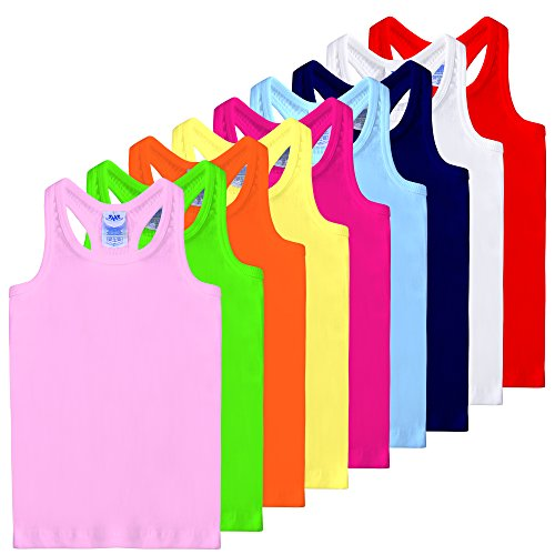 FRESH TEE Girls' Racer Back Tank Top Tunic (Big Girl 9/11, Assorted 9 Colors) (Undershirt Girls)