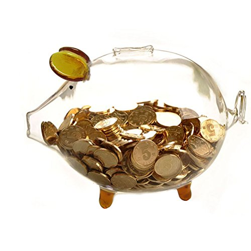 Pursuestar Crystal Clear Glass Chubby Pig Piggy Bank Saving Money Box Coin Cashbox Birthday Gift Wedding Home Office Decor - Gold