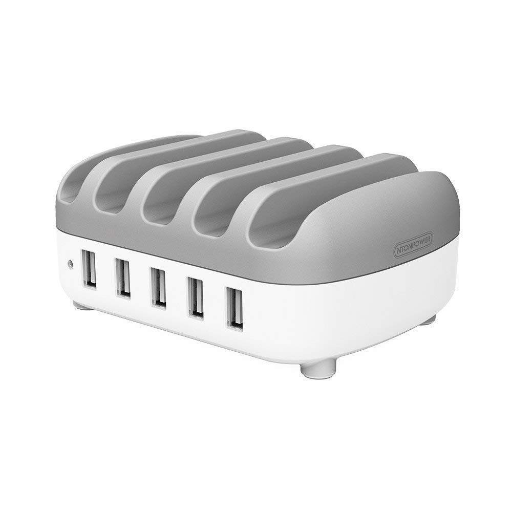 Charging Station with 5 Ports USB 8A 40W Docking Station Multi Port for Apple Android Phone Home Ipad White Office Tablet