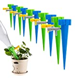12 pcs Plant Waterer Self Watering Spikes System with Slow Release Control Valve Switch, Automatic Vacation Drip Irrigation Watering Devices, Perfect for Indoor Outdoor Office Plant
