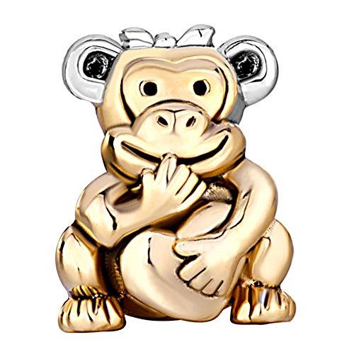 22K Golden Plated Monkey Holding Heart Love Bead Fits Pandora Charms Bracelet