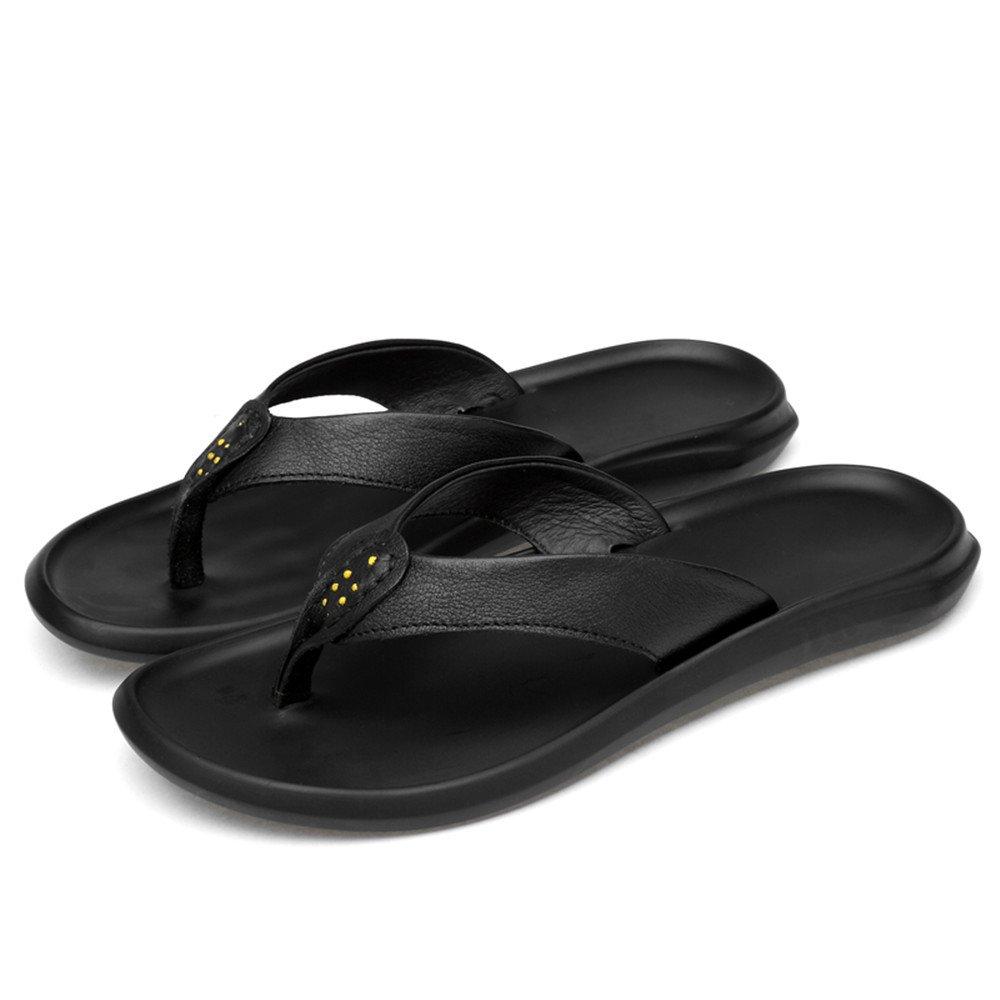 Jiuyue-schuhe, Männer Casual Thong Flip Flops Schuhe aus Echtem Sohle Leder Strand Hausschuhe Rutschfeste Sohle Echtem Sandalen,Herren Sandalen (Farbe : Schwarz, Größe : 41 EU) Schwarz 3ae8ec