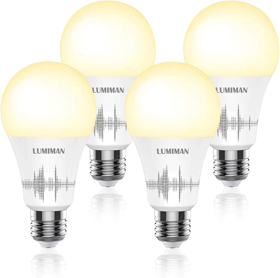 Smart Light Bulb Works with Alexa Google Home & Siri, LUMIMAN WiFi Tunable 800 Lumen Warm White to Daylight White A19 E26 LED Lights Bulbs, 7.5W (75W Equivalent), No Hub Required 4 Pack