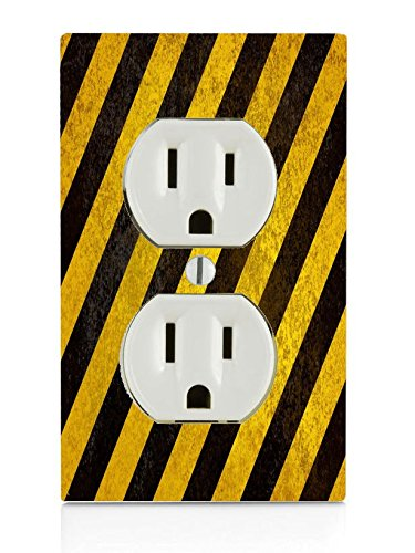 Rustic Black And Yellow Electrical Outlet Plate