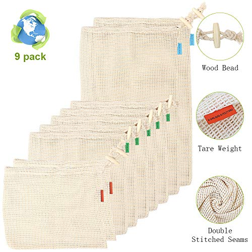 Net Zero Produce Bags, JR.WHITE Reusable Mesh Produce Bags with Drawstring, Tare Weight, Organic Cotton. Washable Eco-friendly Vegetable Bags Set of 9 Pack(2 Large,5 Medium,2 Small)