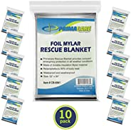 "Primacare HB-10 Emergency Foil Mylar Thermal Blanket (Pack of 10), 52"" Length x 84"" Wid"