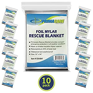 Primacare HB-10 Emergency Foil Mylar Thermal Blanket (Pack of 10), 52