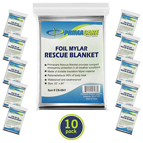 Primacare HB-10 Emergency Foil Mylar Thermal Blanket (Pack of 10)