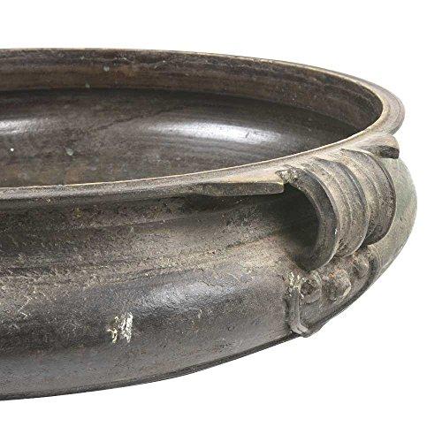 (IndianShelf Handmade Urli with Handles(Antique_Brass_6.8 Inches)-1 Piece)