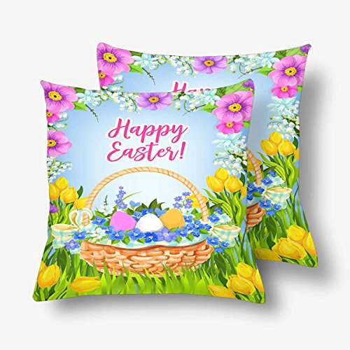 InterestPrint Easter Egg Wicker Basket Spring Meadow Flower Blooms Bunch Pillowcase Throw Pillow Covers 18x18 Set of 2, Pillow Sham Cases Protector for Home Couch Sofa Bedding Decorative -