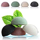 4 Packs Natural Konjac Sponge Facial Puff Face Wash Cleansing and Exfoliating Hemisphere Shape Beauty Sponges with Bamboo Charcoal and Green Tea