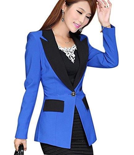 Aro Lora Women's Long Sleeve Color Block Lapel One Button Jacket Blazer Suit US 8-10 Blue ()
