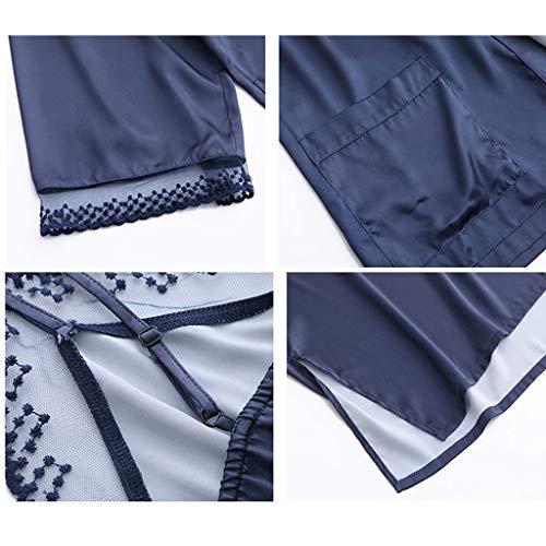 cappotto da Estate V pigiama notte estate cardigan a LINGZHIGAN scollo Ladies di servizio con sexy casa Camicia wSCPxqx