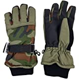 N'Ice Caps Kids Cold Weather Waterproof Camo Print Thinsulate Ski Gloves (10-12 Years, Green Camo/Black)