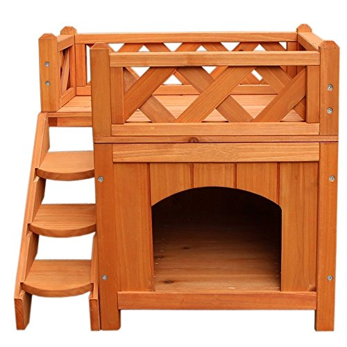 21″ Confidence Pet Wooden Dog House Living House Kennel with Balcony Wood Color