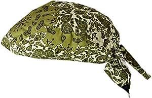 ZANheadgear Flydanna Two-Tone Paisley 100 Percentage Cotton Bandanna (Green)