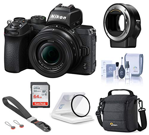 Nikon Z 50 DX-Format Mirrorless Camera with 16-50mm f/3.5-6.3 VR Lens, Essential Bundle with FTZ Mount Adapter, Wrist Strap and Accessories