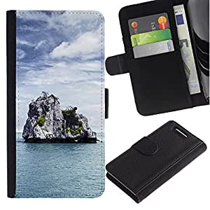 KingStore / Leather Etui en cuir / Sony Xperia Z1 Compact D5503 / Naturaleza de Lonely Castle Rock