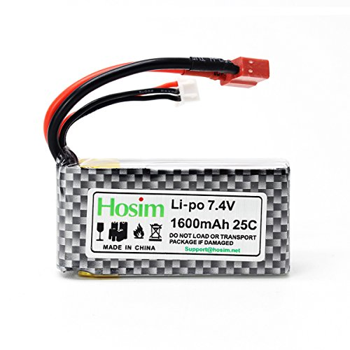 Hosim RC Cars Replacement Battery, 1600mAh Li-Po Rechargeable Battery for 9125 Truggy High Speed Truck Accessory Supplies by Hosim