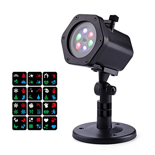 LaserXplore Christmas Lights Projector, 12 Slides LED Projector Lights, IP65 Waterproof Landscape LED Lights, Ideal for St Patricks Day, Holiday, Party, Home, Garden, Indoor and Outdoor (12 Black Ambiance Housing)